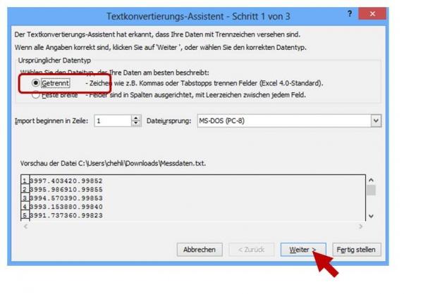 Textkonvertierungs-Assistent Schritt 1 von 3