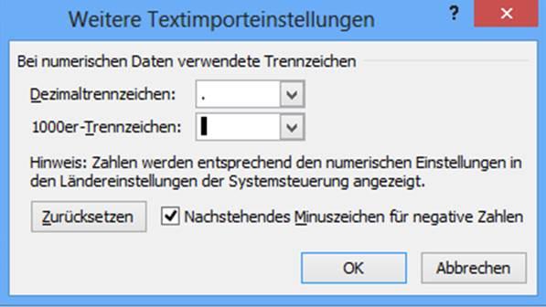 Textkonvertierungs-Assistent Textimporteinstellungen