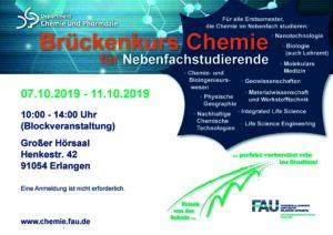 Poster Chemie im Nebenfach mit Zeitangabe 7.-11.10.19, jeweils von 9.00-16.00 Uhr im Großen Hörsaal der Organischen Chemie, Henkestr. 42, 91054 Erlangen