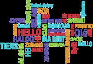 """Das Bild zeigt die Worte """"Hallo"""" in bunten Schriftzügen in verschiedenen Sprachen."""